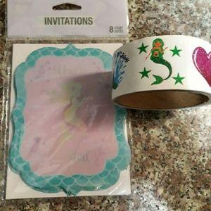 8 Ct Mermaid Invitations Mermaid Sticker